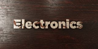 Electronics - grungy wooden headline on Maple  - 3D rendered royalty free stock image Stock Images