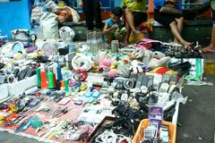 Electronics and household items sold in the streets of Manila, Philippines Royalty Free Stock Images