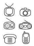 Electronics icon set. White and black electronics icon set Stock Photos
