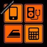 Electronics icon set. On black background Stock Photo