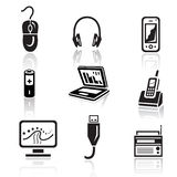 Electronics icon set. Black sign on white background Royalty Free Stock Photo