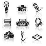 Electronics icon set. Black sign on white background Stock Images
