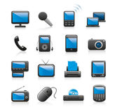 Electronics icons. Black and blue icons depicting modern and classic electronics Royalty Free Stock Image