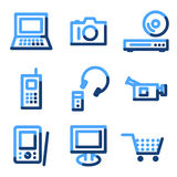 Electronics icons. Vector web icons, blue contour series