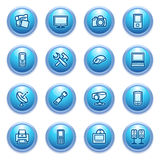 Electronics icons on blue buttons. Royalty Free Stock Photo