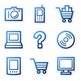 Electronics icons blue contour Stock Photos