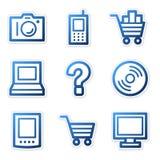 Electronics icons blue contour Stock Photos