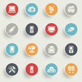 Electronics icons with color buttons on gray background. Stock Photos