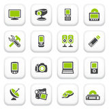 Electronics icons. Green gray series. Stock Photo