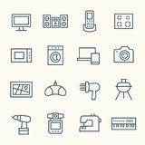 Electronics icons. Home electronics line icon set Royalty Free Stock Photography