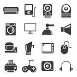 Electronics icons, household icons. Set of 16 electronics icons, household icons stock illustration
