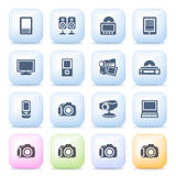 Electronics Icons On Color Buttons. Stock Images