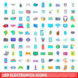 100 electronics icons set, cartoon style. 100 electronics icons set in cartoon style for any design vector illustration Stock Photography