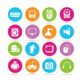 Electronics icons. Set of 16 electronics icons in colorful buttons Royalty Free Stock Photo