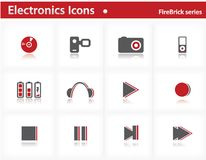Electronics icons set - Firebrick Series Royalty Free Stock Photo