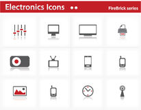 Electronics icons set - Firebrick Series Royalty Free Stock Photography