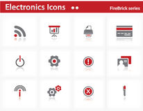 Electronics icons set - Firebrick Series. Set 3 Stock Images