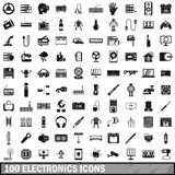 100 electronics icons set, simple style. 100 electronics icons set in simple style for any design vector illustration Stock Photos