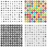 100 electronics icons set vector variant. 100 electronics icons set vector in 4 variant for any web design isolated on white stock illustration