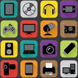 Electronics icons. Electronics vector icons with flat long shadow style Royalty Free Stock Photo