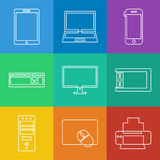Electronics icons. Vector linear icons collection of electronics and mobile devices vector illustration