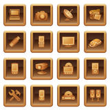 Electronics icons for web.  Brown series. Royalty Free Stock Photography