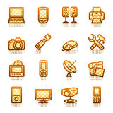 Electronics icons for web. Brown series. Stock Images