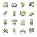 Electronics icons for web.  Gray and green series. Stock Image