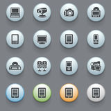 Electronics icons for web site on gray background. Royalty Free Stock Images