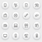 Electronics icons with white buttons on gray backg Royalty Free Stock Images