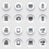 Electronics icons on white buttons. Set 1. Royalty Free Stock Photo