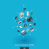Electronics integrated 3d web icons. Digital network isometric concept. Stock Image