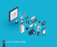 Electronics integrated 3d web icons. Growth and progress concept Royalty Free Stock Images