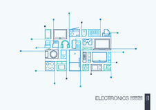 Electronics integrated thin line symbols. Modern linear style vector concept, with connected flat design icons. Abstract background illustration for multimedia Stock Photo