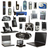 Electronics Isolated on a White Background. Technology collage isolated on a white background depicting electronic devices Royalty Free Stock Photos