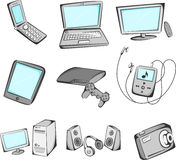 Electronics items icons. A vector illustration of electronic items icons Stock Photos