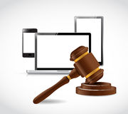 Electronics and law hammer illustration Royalty Free Stock Photography