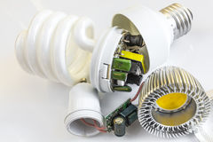 Electronics LED GU10 vs CFL E27 Stock Image