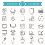 25 Electronics Line Icons Stock Photography