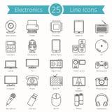 25 Electronics Line Icons. Set of 25 electronics line icons Stock Photography