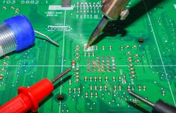 Electronics manufacturing services, Motherboard digital chip. Tech science background. Integrated communication processor stock image