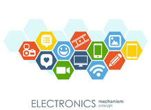 Electronics mechanism. Abstract background with connected gears and integrated flat icons. Connected symbols for laptop. Monitor, phone. Vector interactive Stock Image
