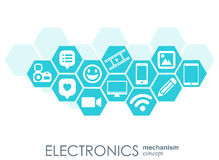 Electronics mechanism. Abstract background with connected gears and integrated flat icons. Connected symbols for laptop. Monitor, phone. Vector interactive Stock Images