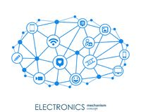 Electronics mechanism. Abstract background with connected gears and integrated flat icons. Connected symbols for monitor. Phone. Vector interactive Stock Illustration