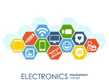 Electronics mechanism. Abstract background with connected gears and integrated flat icons. Connected symbols for monitor, phone. V. Ector interactive Stock Image