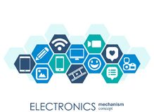 Electronics mechanism. Abstract background with connected gears and integrated flat icons. Connected symbols for monitor, phone. V. Ector interactive Stock Photo