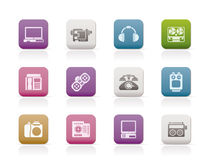 Electronics, media and technical equipment icons Stock Image
