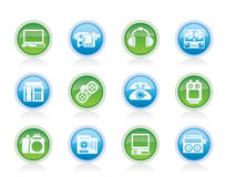 Electronics, media and technical equipment icons Royalty Free Stock Images