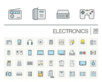 Electronics and multimedia color vector icons Stock Photos