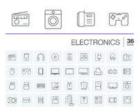 Electronics and multimedia vector icons Royalty Free Stock Image